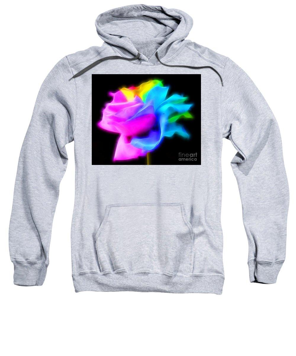 Rose Sweatshirt featuring the photograph Neon Romance by Krissy Katsimbras