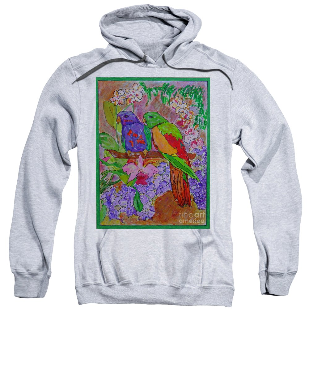 Tropical Pair Birds Parrots Original Illustration Leilaatkinson Sweatshirt featuring the painting Nesting by Leila Atkinson