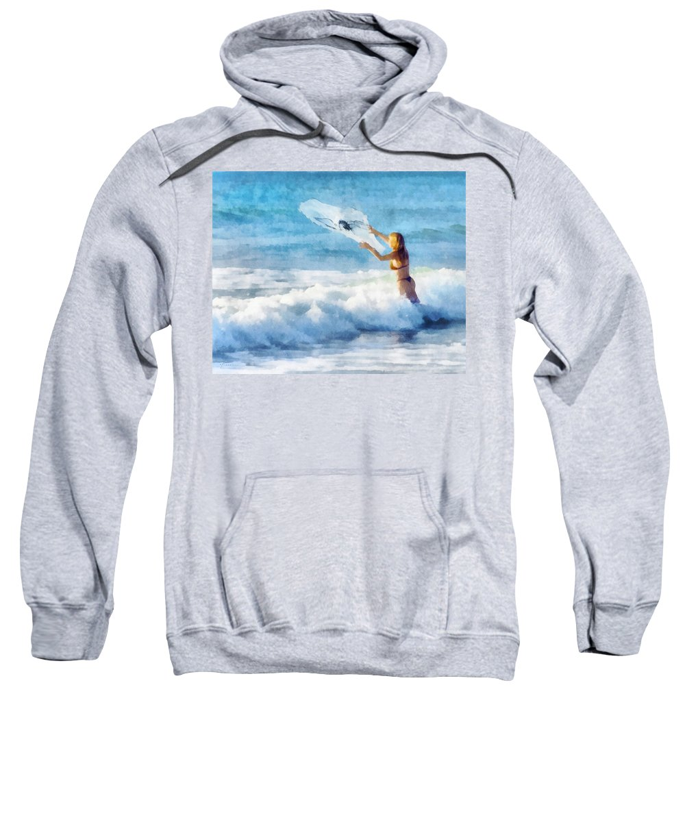 Woman Sweatshirt featuring the digital art Net Fishing The Sea by Francesa Miller