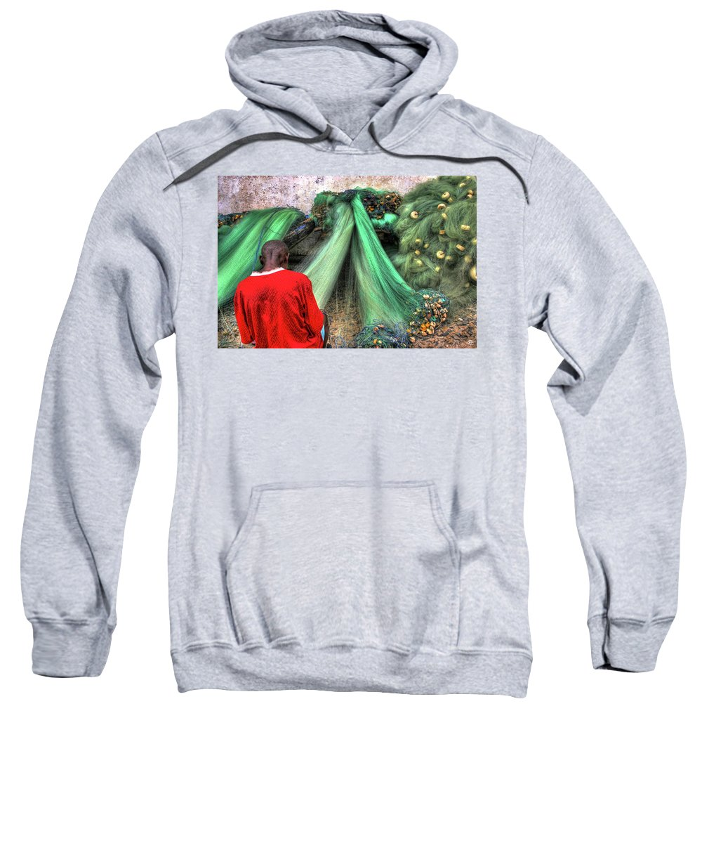Cape Sweatshirt featuring the photograph Net Repair Never Ends by Wayne King
