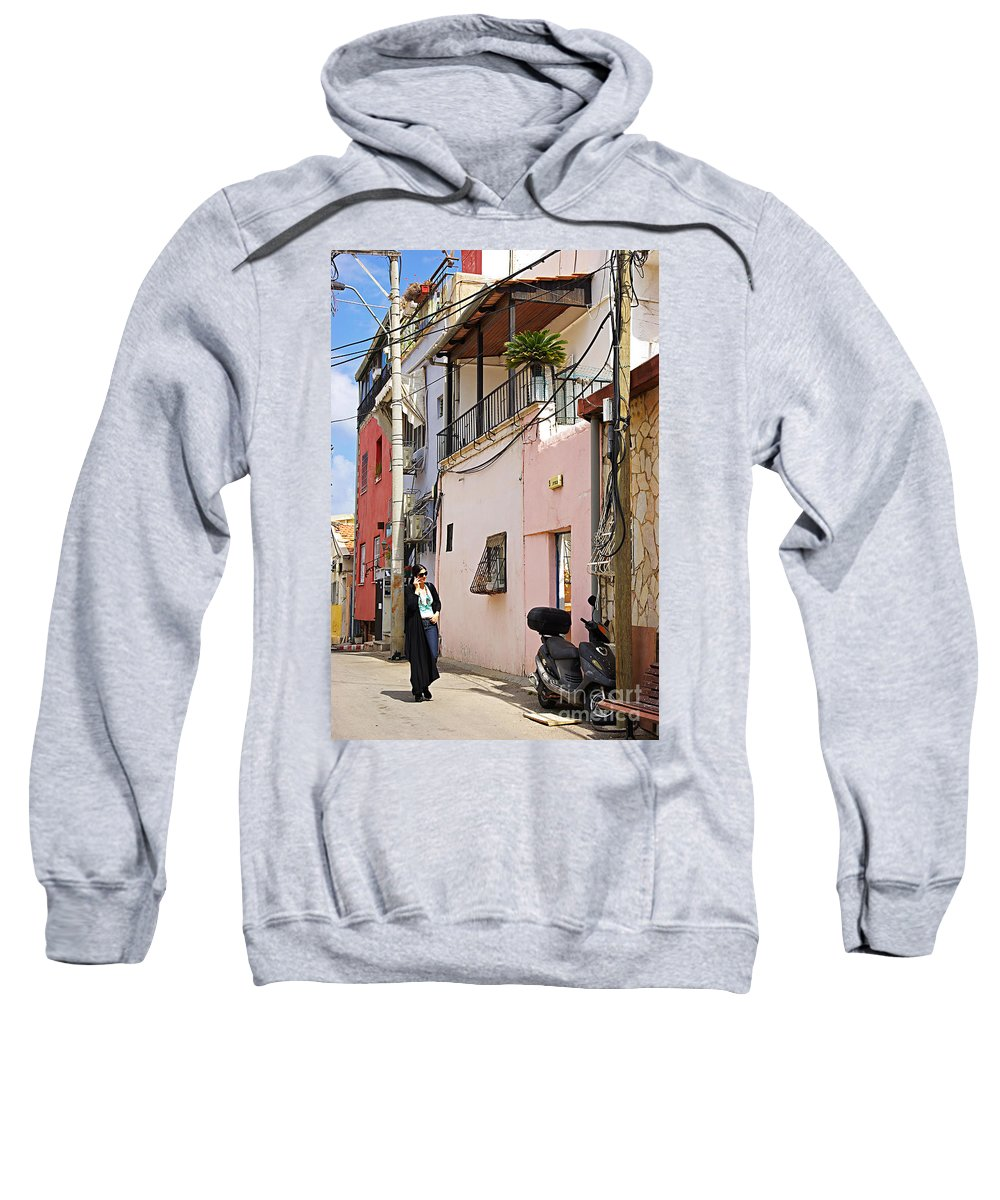 Neve Tzedek Sweatshirt featuring the photograph Neve Tzedek Neighborhood In Tel Aviv by Zal Latzkovich