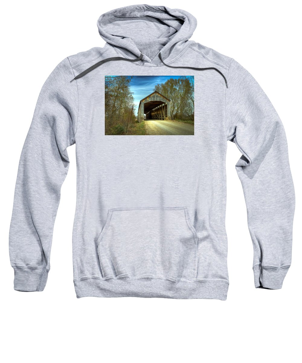 Parke Sweatshirt featuring the photograph Nevins Covered Bridge by Jack R Perry