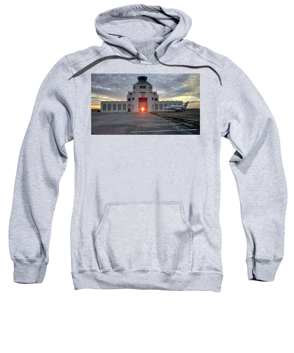 Airport Sweatshirt featuring the photograph New Dawn For An Old Airport by J L Hodges