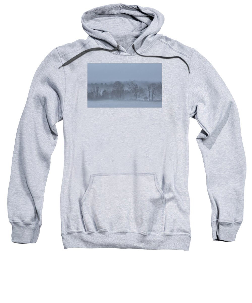 New England Sweatshirt featuring the photograph New England Hillside Foggy Morning With Fresh Snow by Scott Snyder