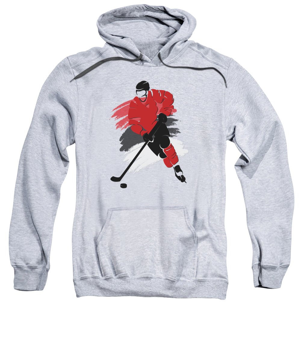 Devils Sweatshirt featuring the photograph New Jersey Devils Player Shirt by Joe Hamilton