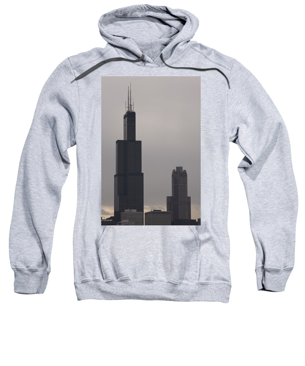 Chicago Windy City Sears Willis Tower Building High Tall Skyscraper Urban Metro Tourist Attraction Sweatshirt featuring the photograph New Name by Andrei Shliakhau