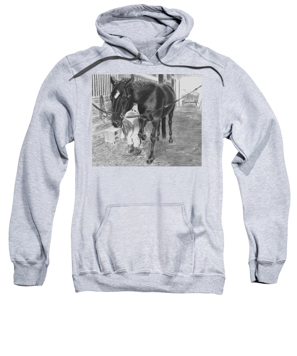 Horse Sweatshirt featuring the drawing New Shoes by Quwatha Valentine