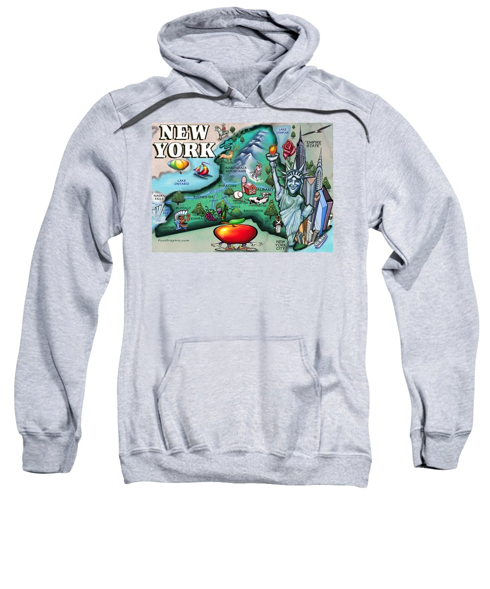 New York Sweatshirt featuring the digital art New York Cartoon Map by Kevin Middleton