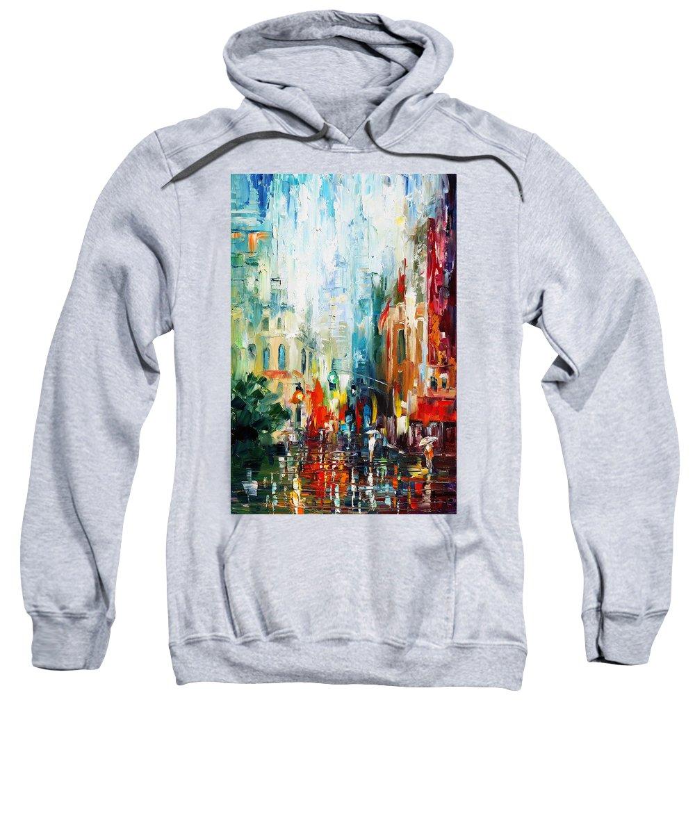 Afremov Sweatshirt featuring the painting New York by Leonid Afremov