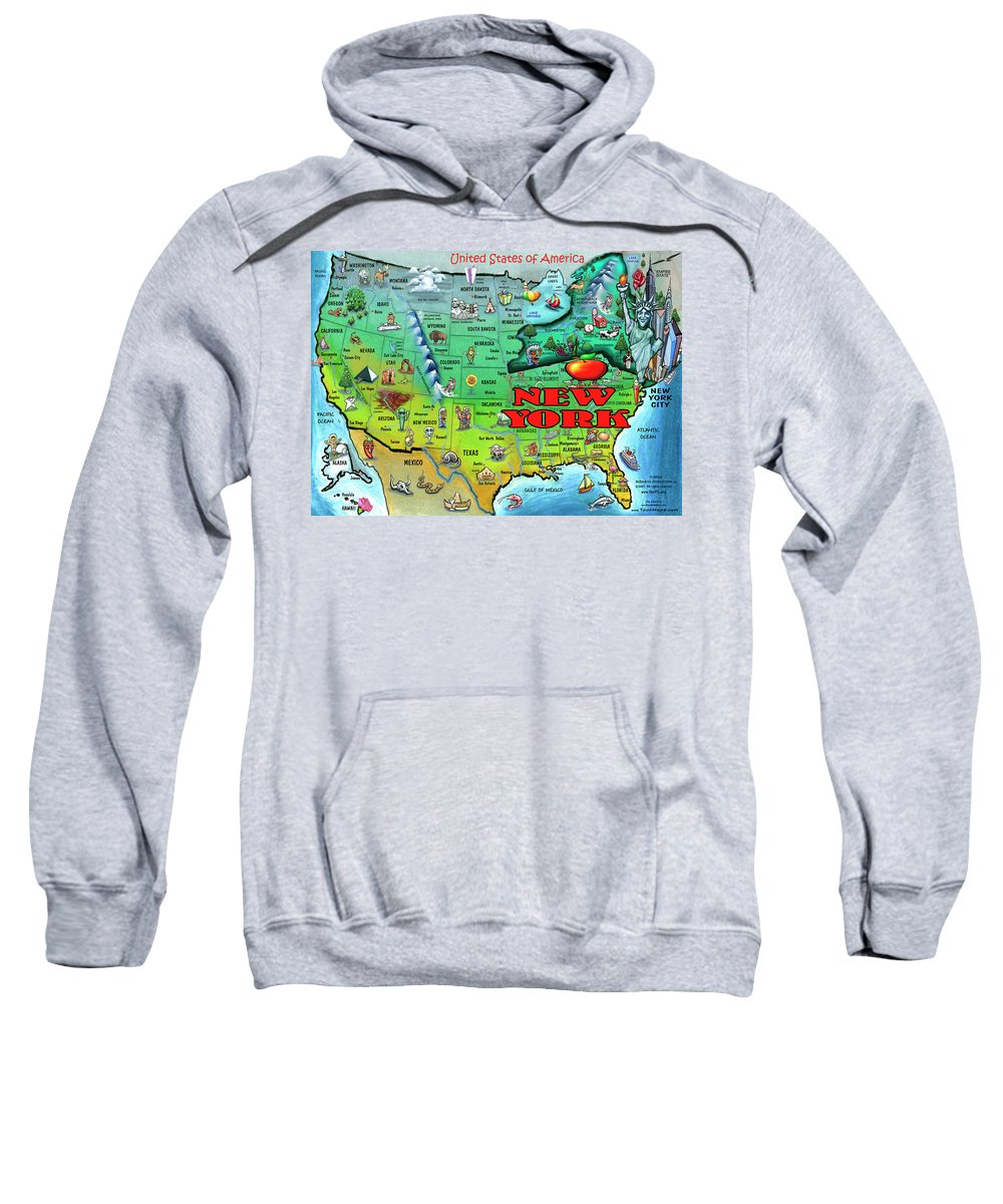 New York Sweatshirt featuring the digital art New York Usa by Kevin Middleton