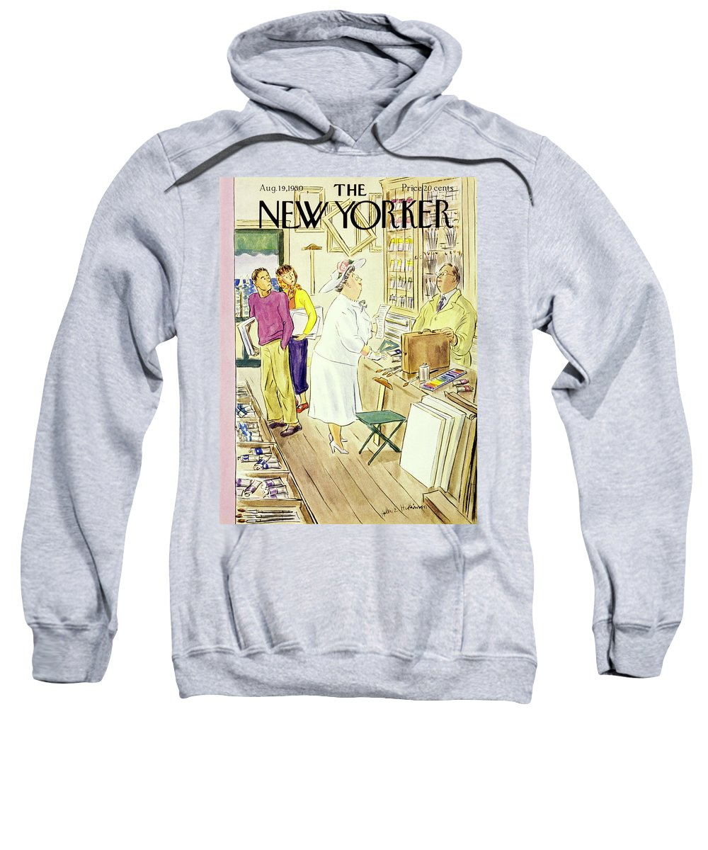 Matron Sweatshirt featuring the painting New Yorker August 19 1950 by Helene E Hokinson