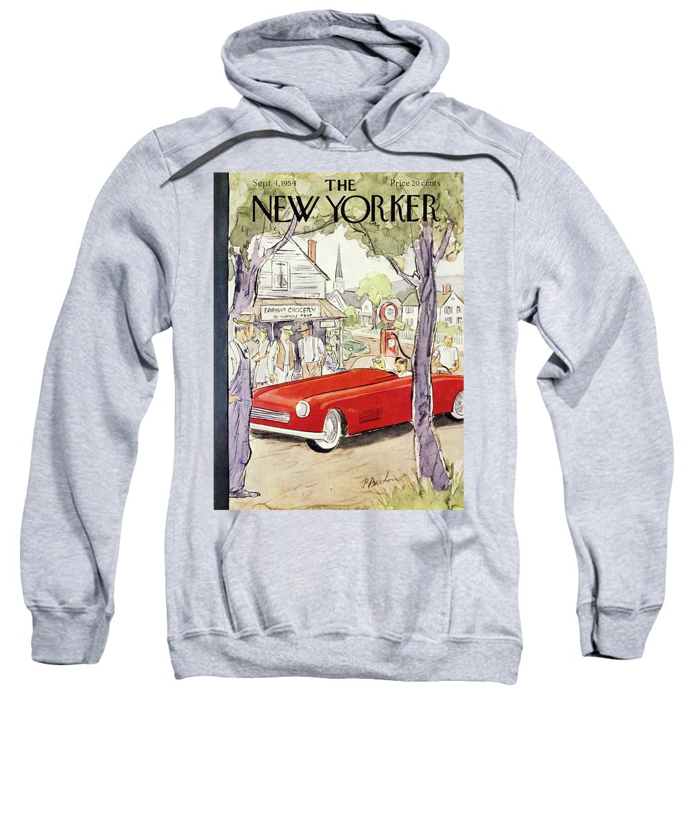 Couple Sweatshirt featuring the painting New Yorker September 4 1954 by Perry Barlow