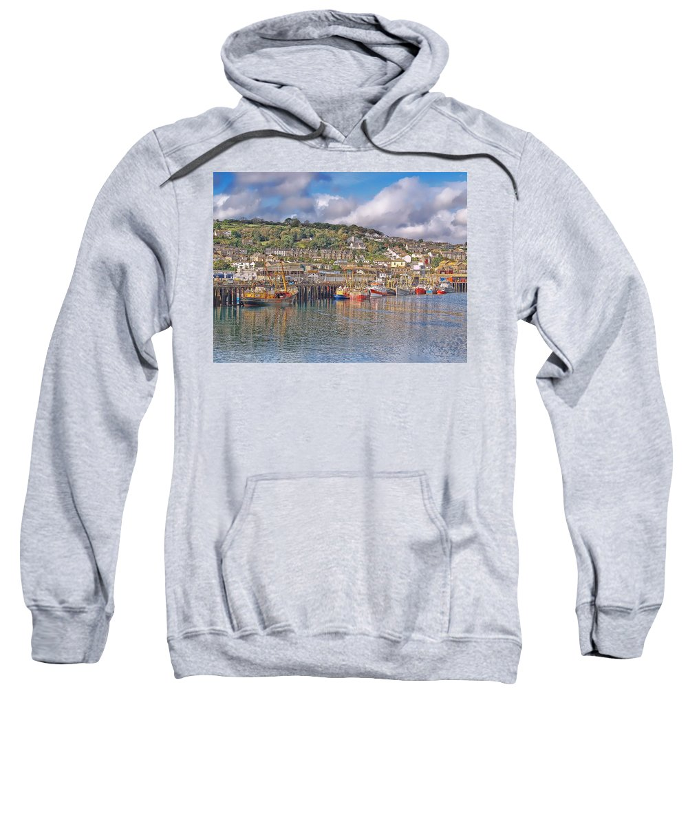 Newlyn Harbour Sweatshirt featuring the photograph Newlyn Harbour Cornwall 2 by Chris Thaxter