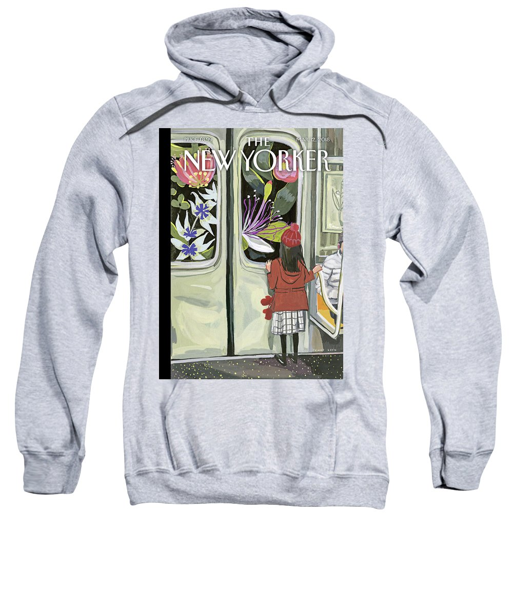 Next Stop: Spring Sweatshirt featuring the painting Next Stop Spring by Jenny Kroik