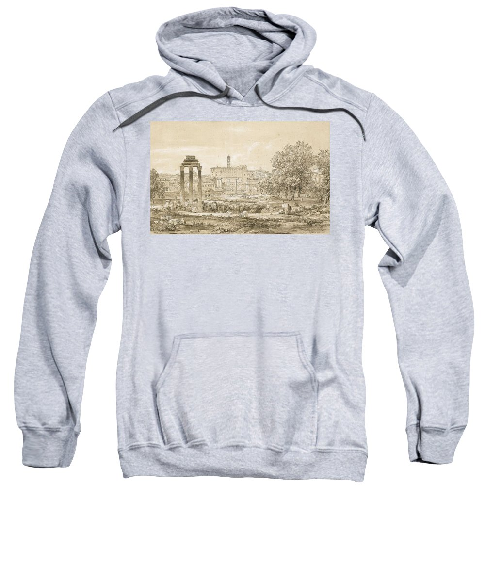 Nature Sweatshirt featuring the painting Nicolas-didier Boguet  1755 - 1839  View Of The Roman Forum With The Temple Of Castor by Nicolas-Didier Boguet