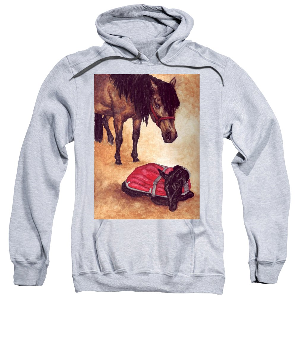 Horse Sweatshirt featuring the painting Nifty And Hannah by Kristen Wesch