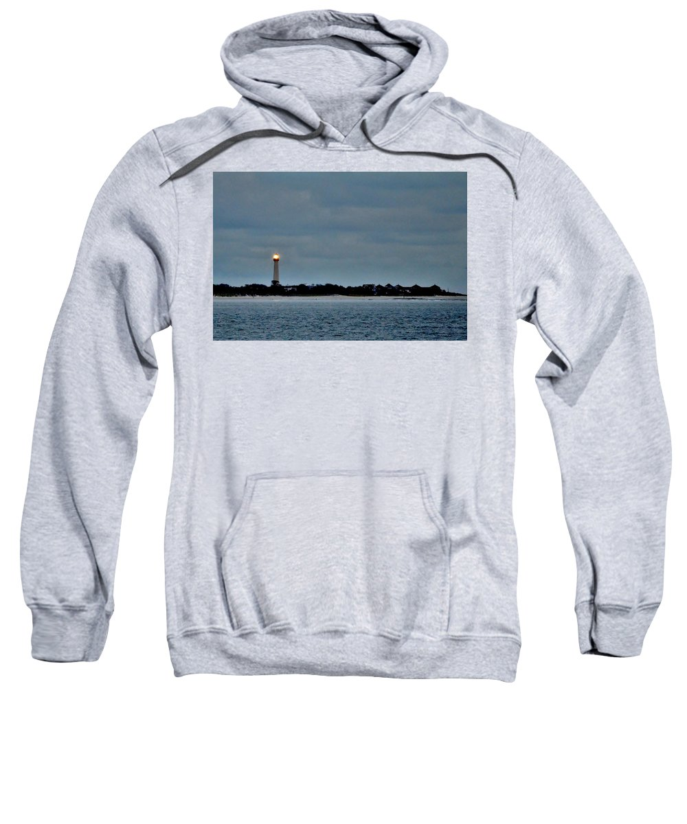 Lighthouse Sweatshirt featuring the photograph Night Beacon - Cape May Lighthouse by Kim Bemis