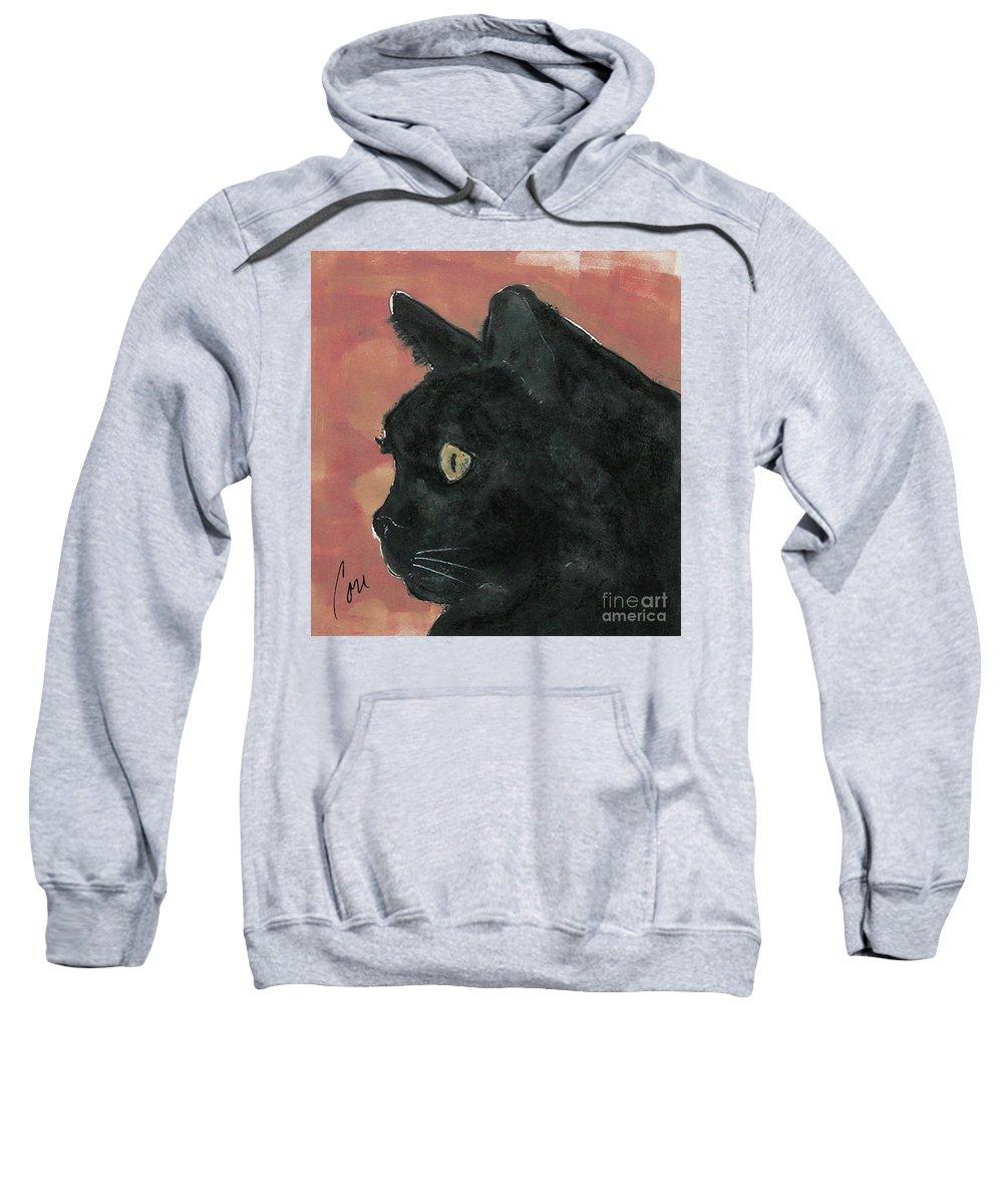 Cat Sweatshirt featuring the mixed media Night Vision by Cori Solomon