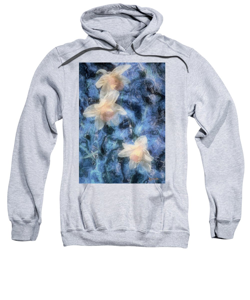 Daffodils Sweatshirt featuring the painting Nighttime Narcissus by RC deWinter