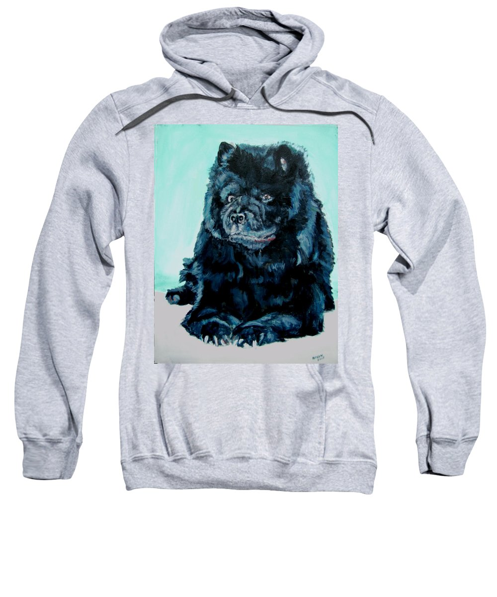 Dog Sweatshirt featuring the painting Nikki The Chow by Bryan Bustard