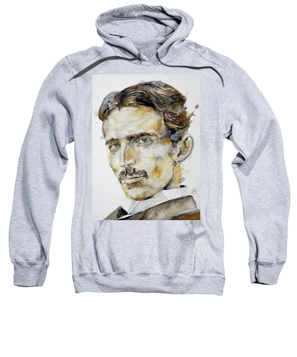 Tesla Sweatshirt featuring the painting Nikola Tesla - Watercolor Portrait.6 by Fabrizio Cassetta