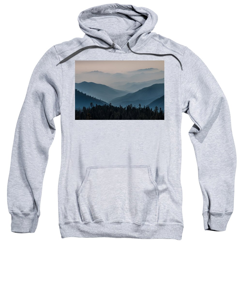 Generals Highway Sweatshirt featuring the photograph Misty Blue Shades Of Generals Highway 2 by Patti Deters
