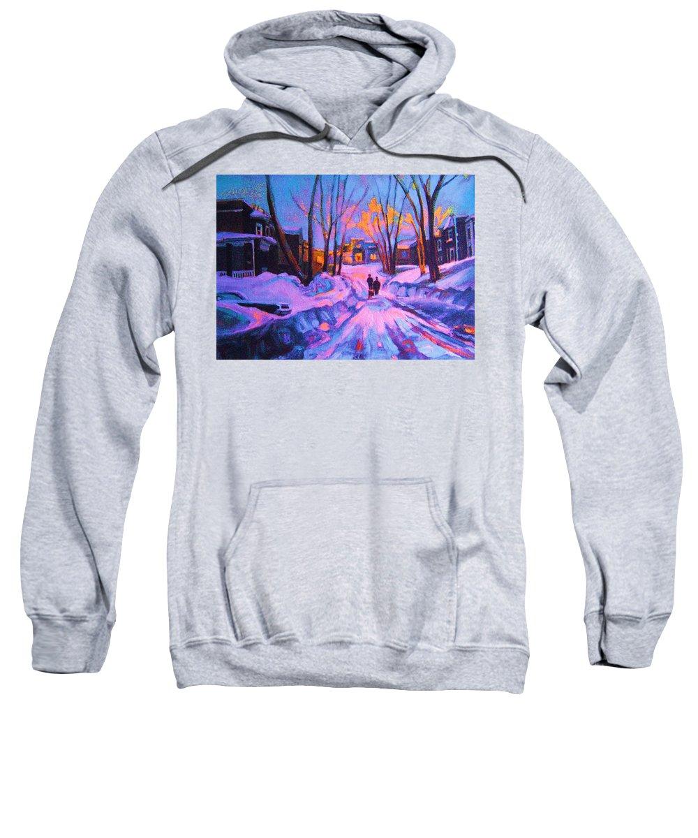 Winterscene Sweatshirt featuring the painting No Sidewalks by Carole Spandau