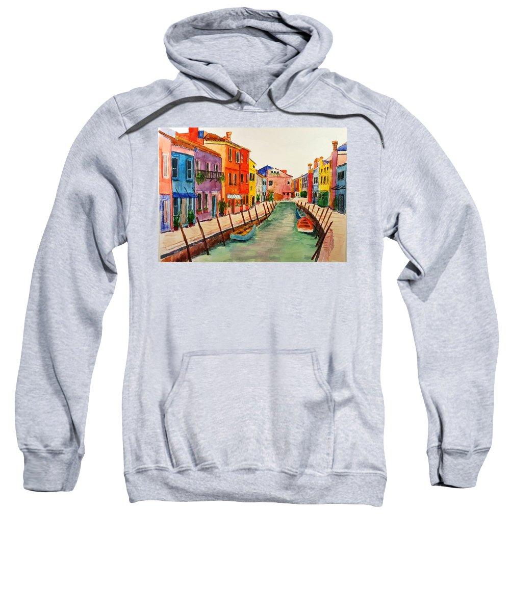 Waterway Sweatshirt featuring the painting No Wake by Steve Duke - Artist