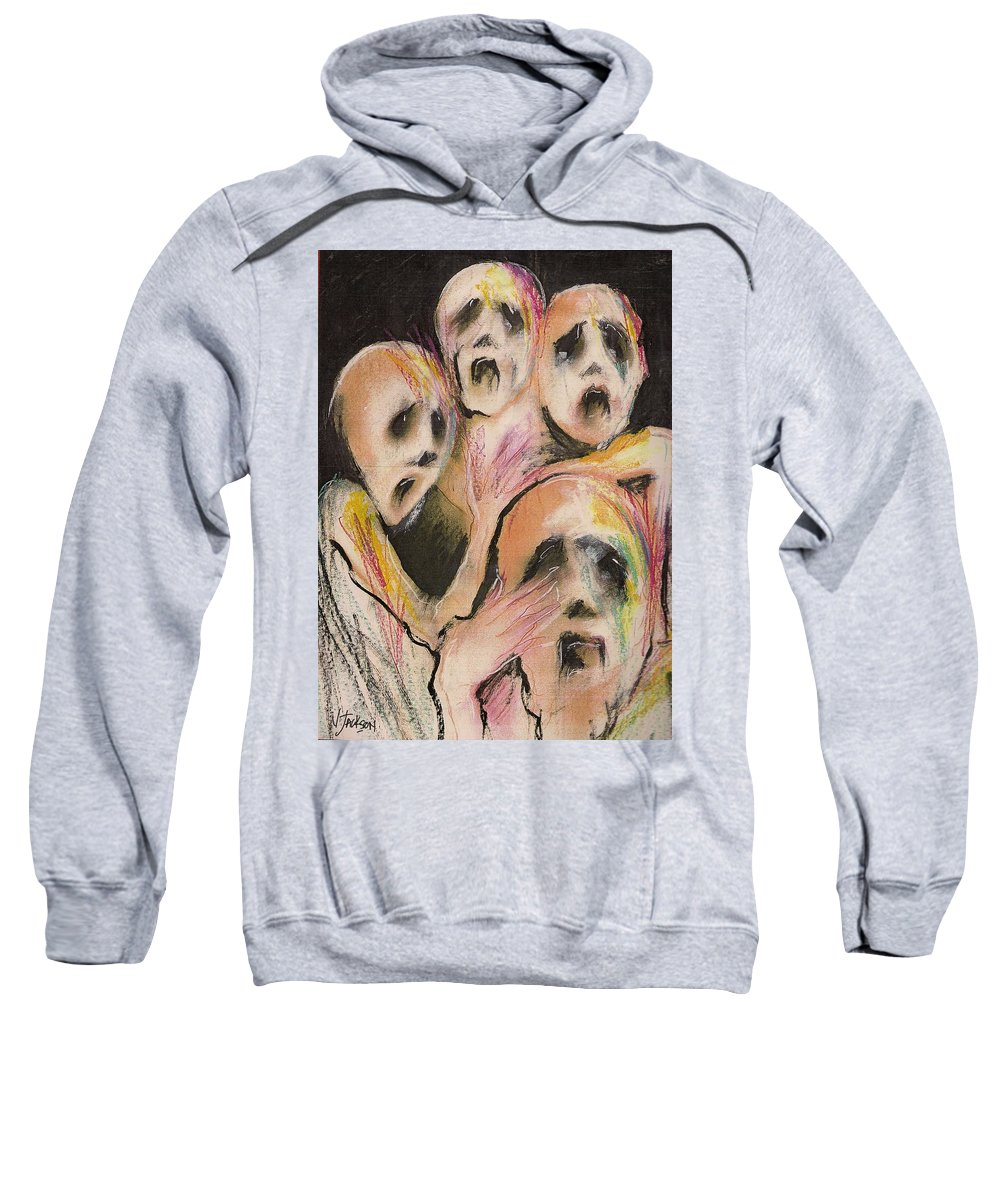 War Cry Tears Horror Fear Darkness Sweatshirt featuring the mixed media No Words by Veronica Jackson