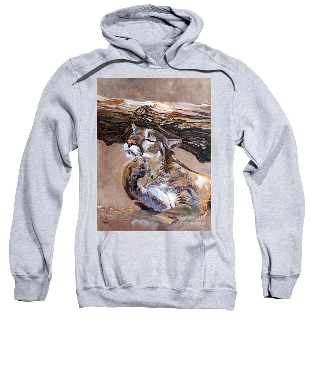 Catamount Sweatshirt featuring the painting Nonchalant by J W Baker