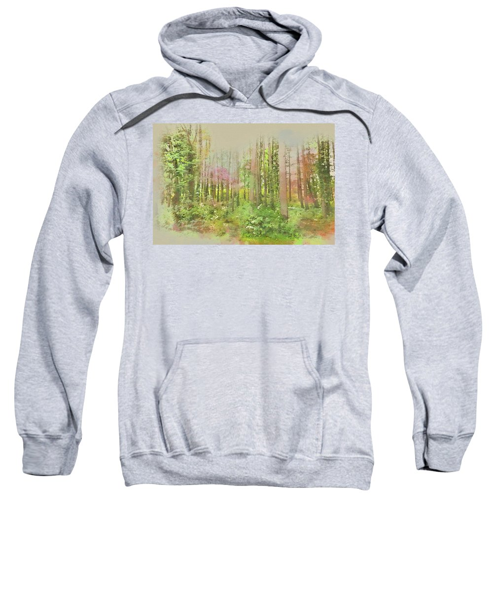 Wright Sweatshirt featuring the digital art North Carolina Forest by Paulette B Wright