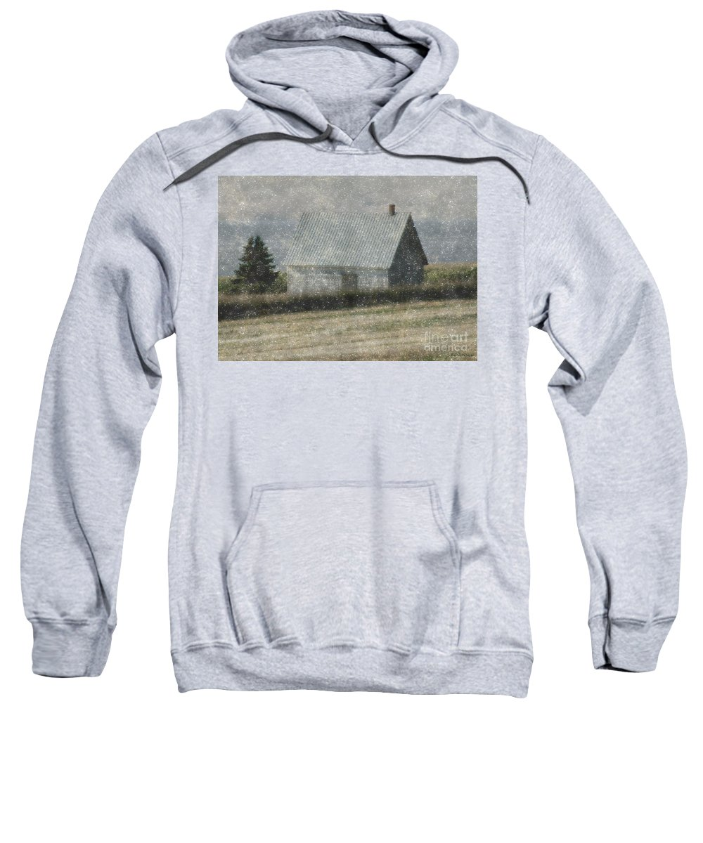 Cabin Sweatshirt featuring the painting North Shore Snowstorm by RC DeWinter