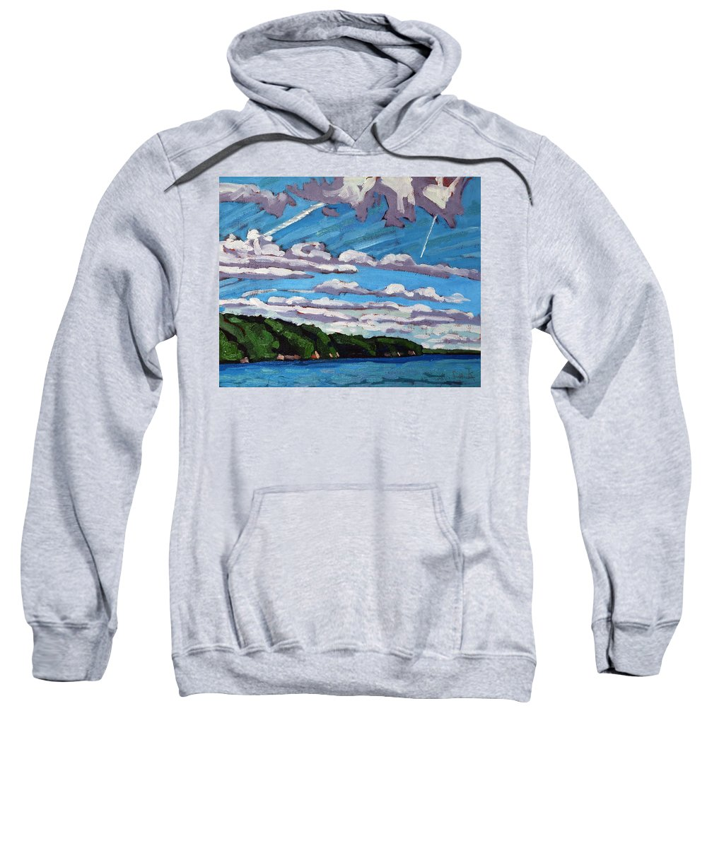 Westport Sweatshirt featuring the painting North Shore Stratocumulus Streets by Phil Chadwick