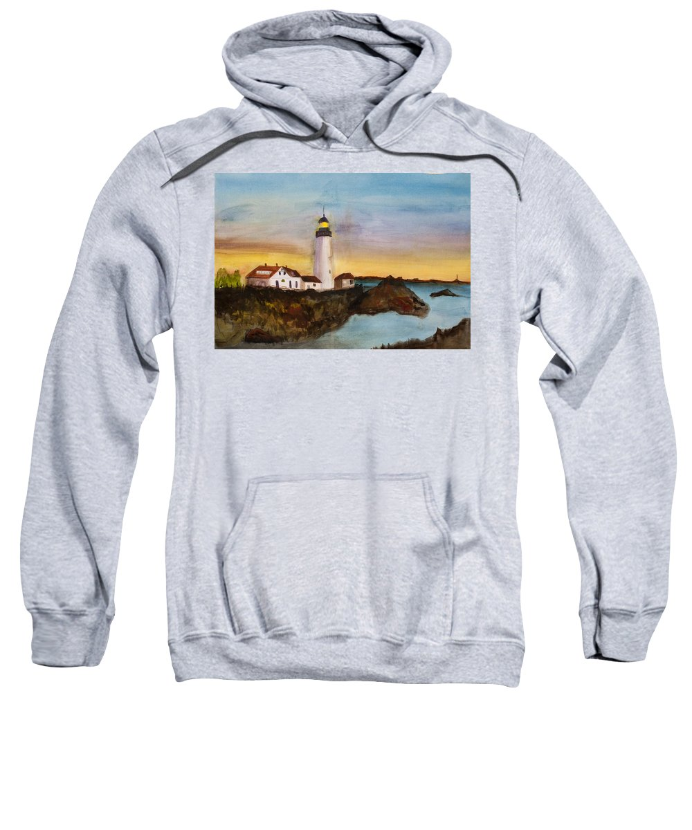 Light House Sweatshirt featuring the painting North Truro Light House Cape Cod by Donna Walsh