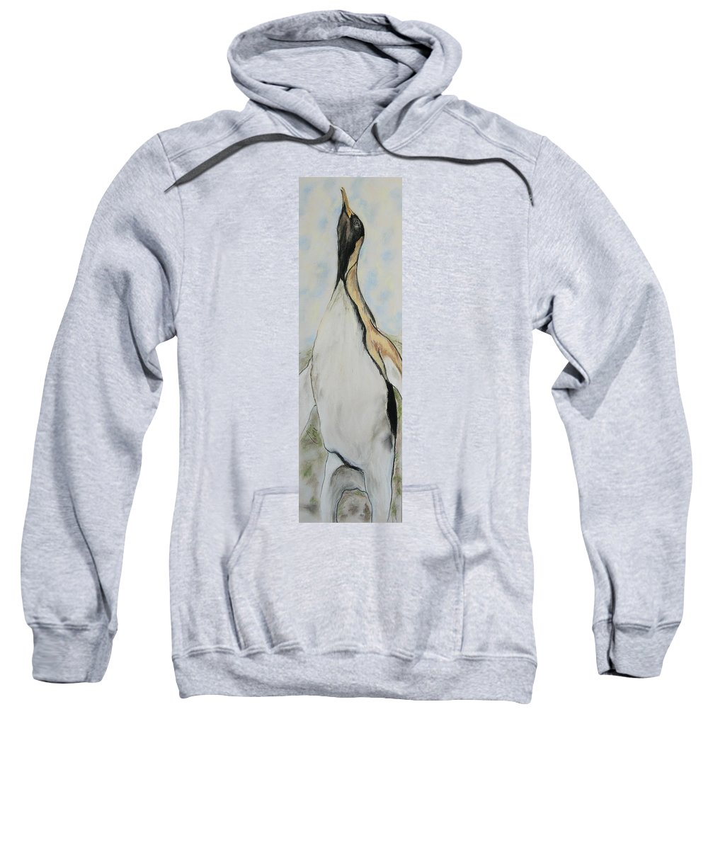 Penguin Sweatshirt featuring the drawing Northern Bliss by Cori Solomon
