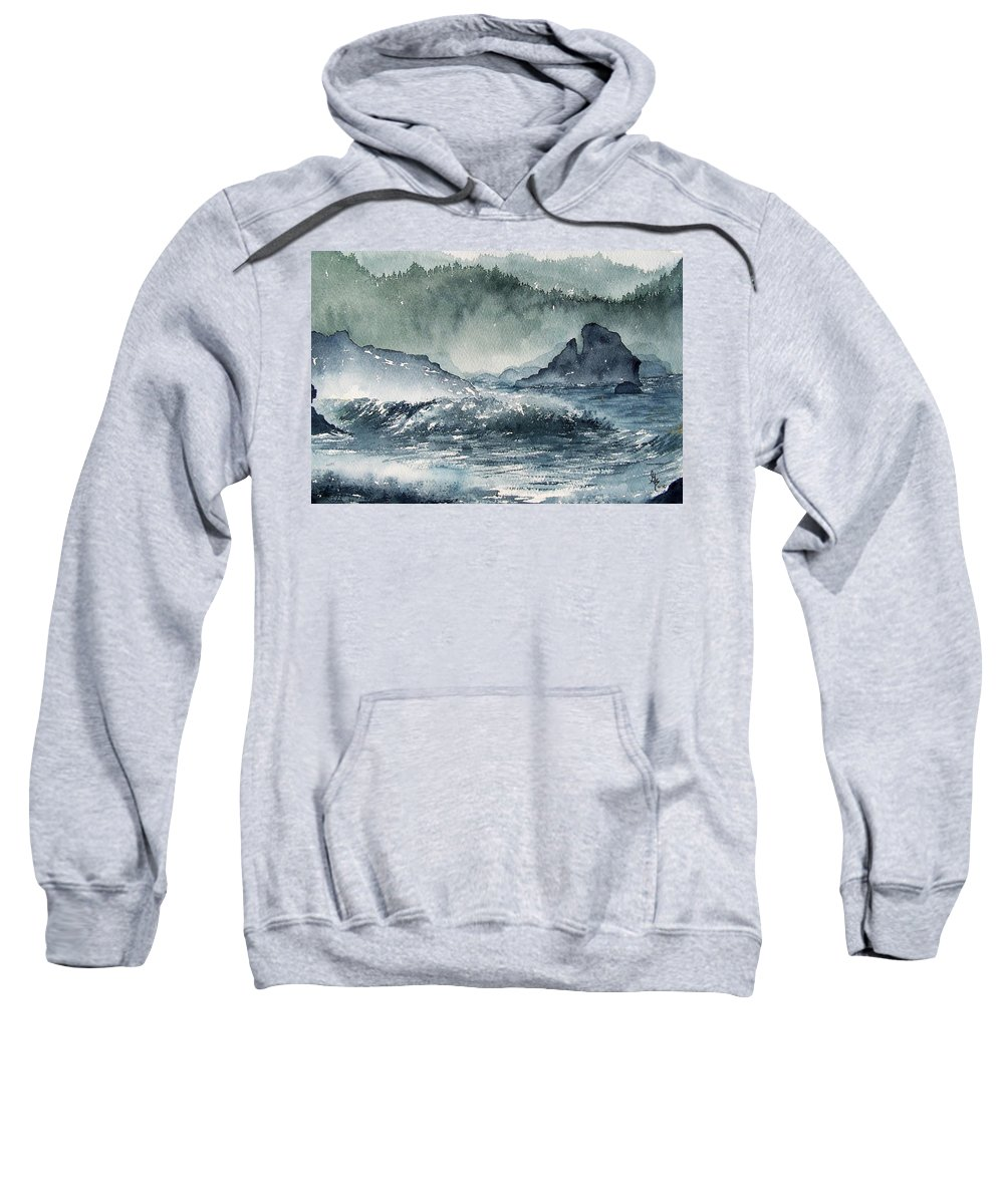Ocean Sweatshirt featuring the painting Northern California Coast by Gale Cochran-Smith
