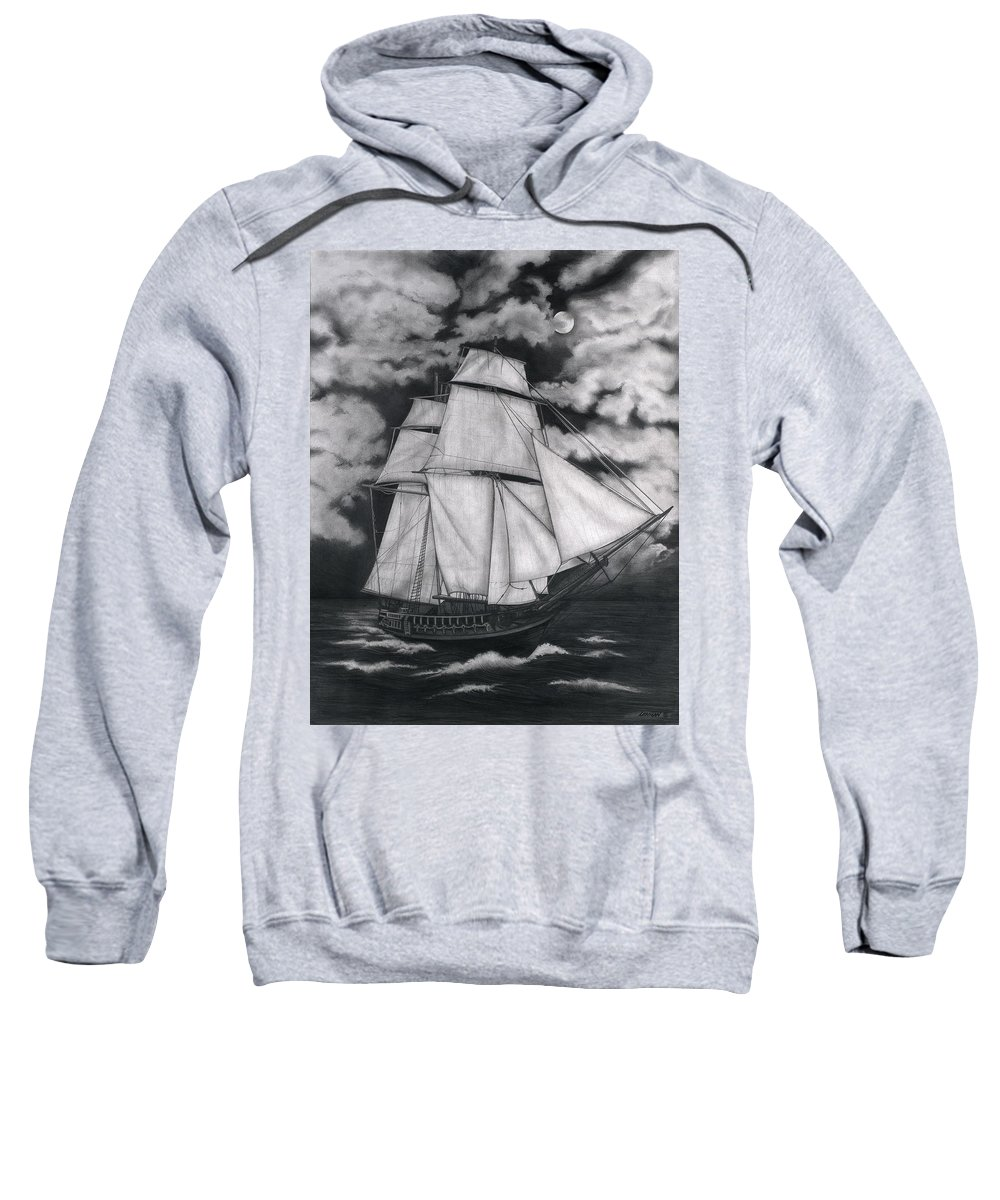 Ship Sailing Into The Northern Winds Sweatshirt featuring the drawing Northern Winds by Larry Lehman