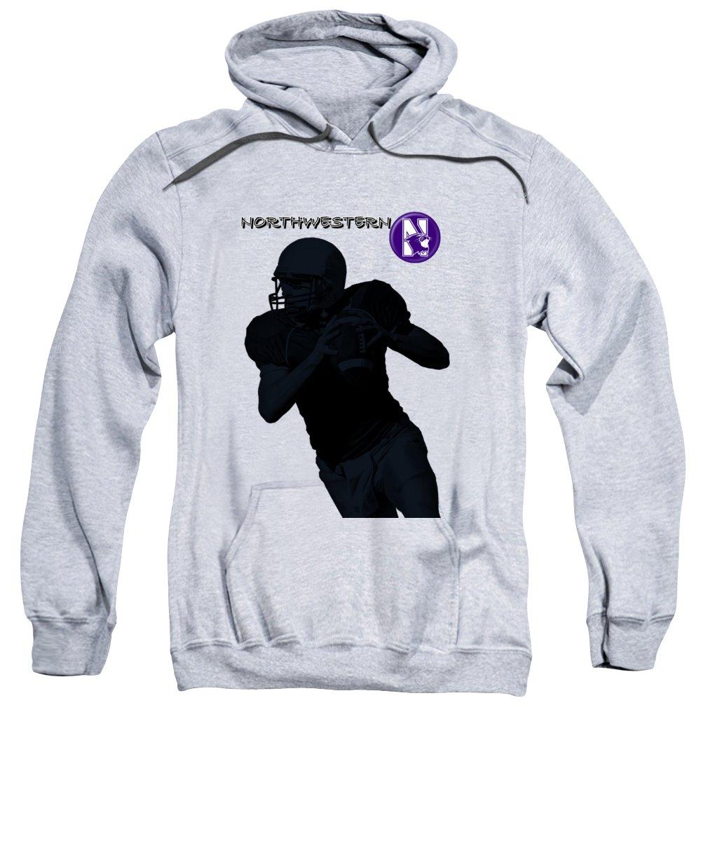 Football Sweatshirt featuring the digital art Northwestern Football by David Dehner