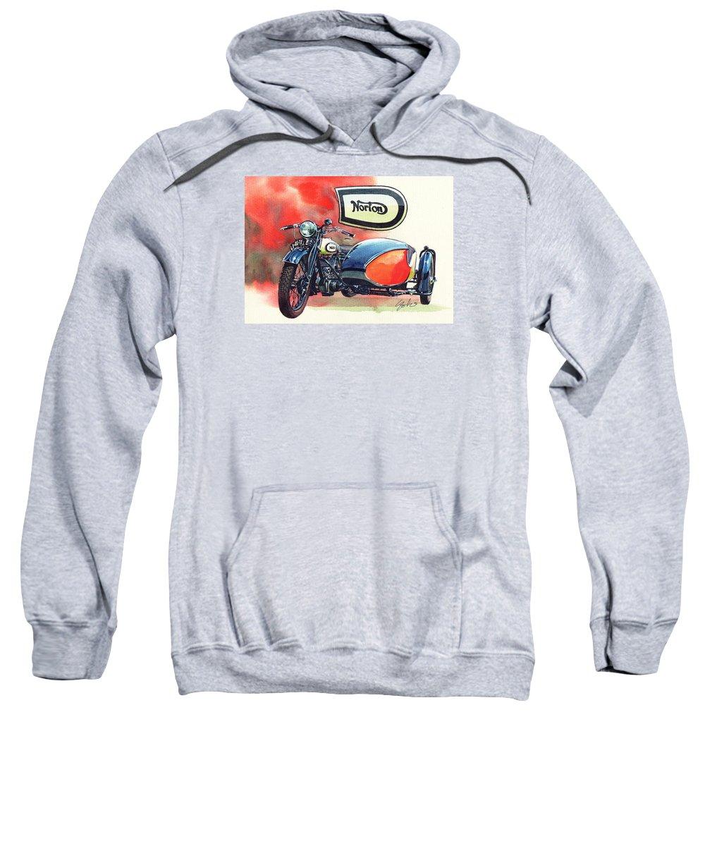 Norton Classic Side Car Bike Sweatshirt featuring the painting Norton Side Car by Yoshiharu Miyakawa
