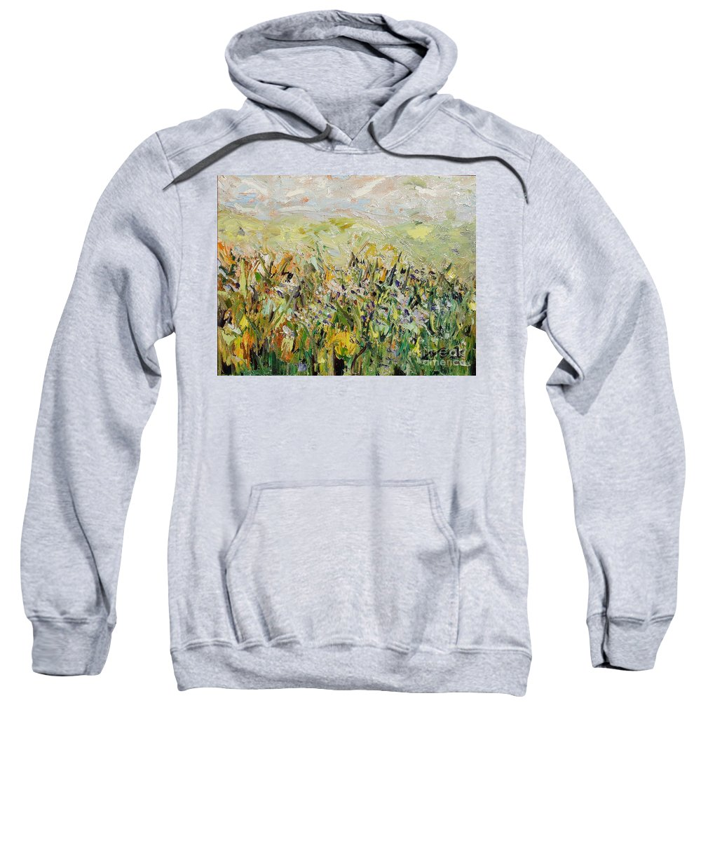 Field Paintings Sweatshirt featuring the painting Nose Hill by Seon-Jeong Kim