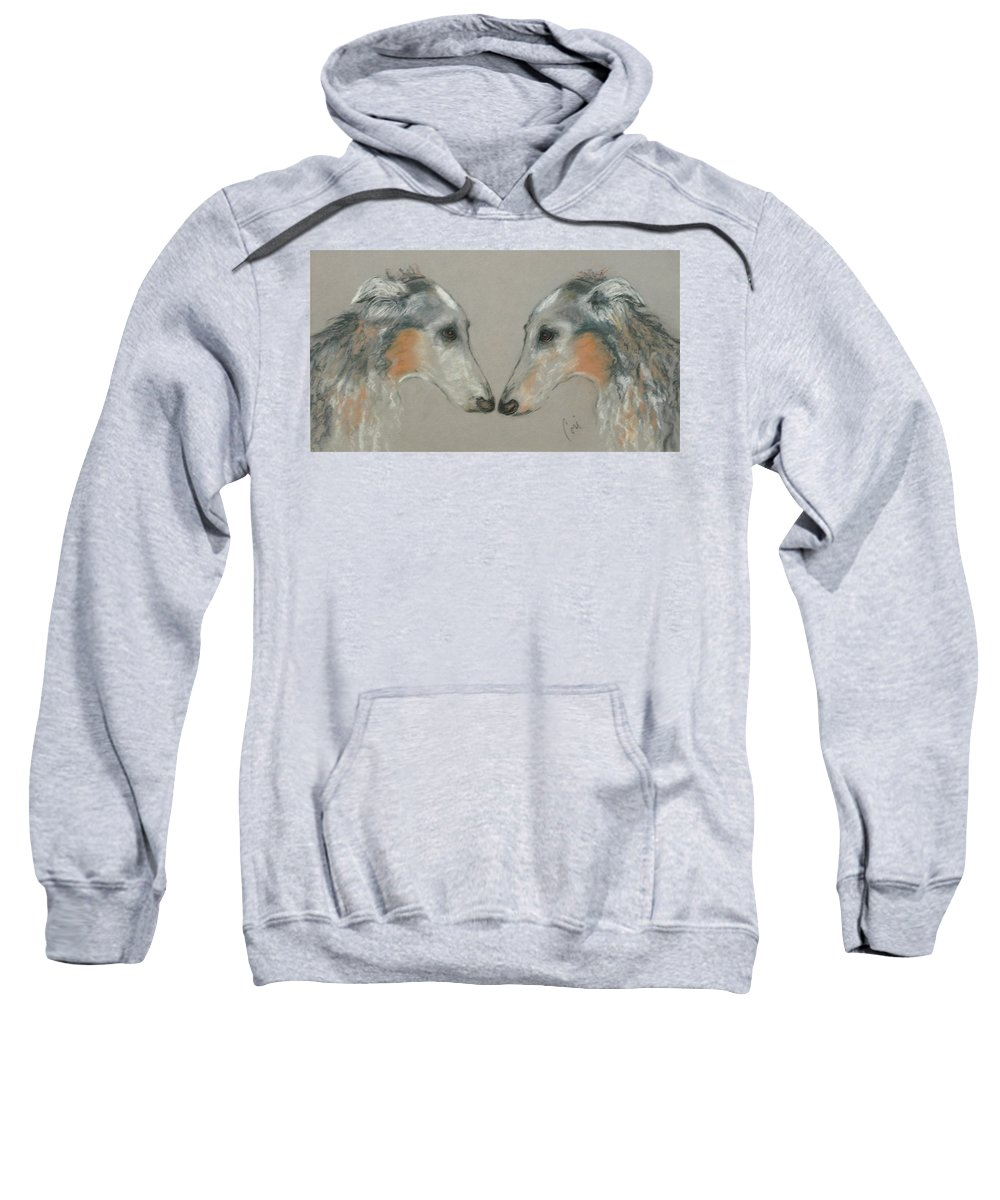 Dog Sweatshirt featuring the drawing Nose To Nose by Cori Solomon
