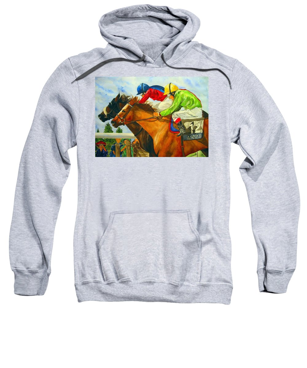 Horse Sweatshirt featuring the painting Nose To Nose by Jean Blackmer