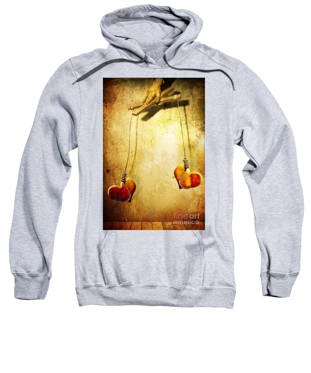 Puppeteer Sweatshirt featuring the painting Not Meant To Be... by Jacky Gerritsen