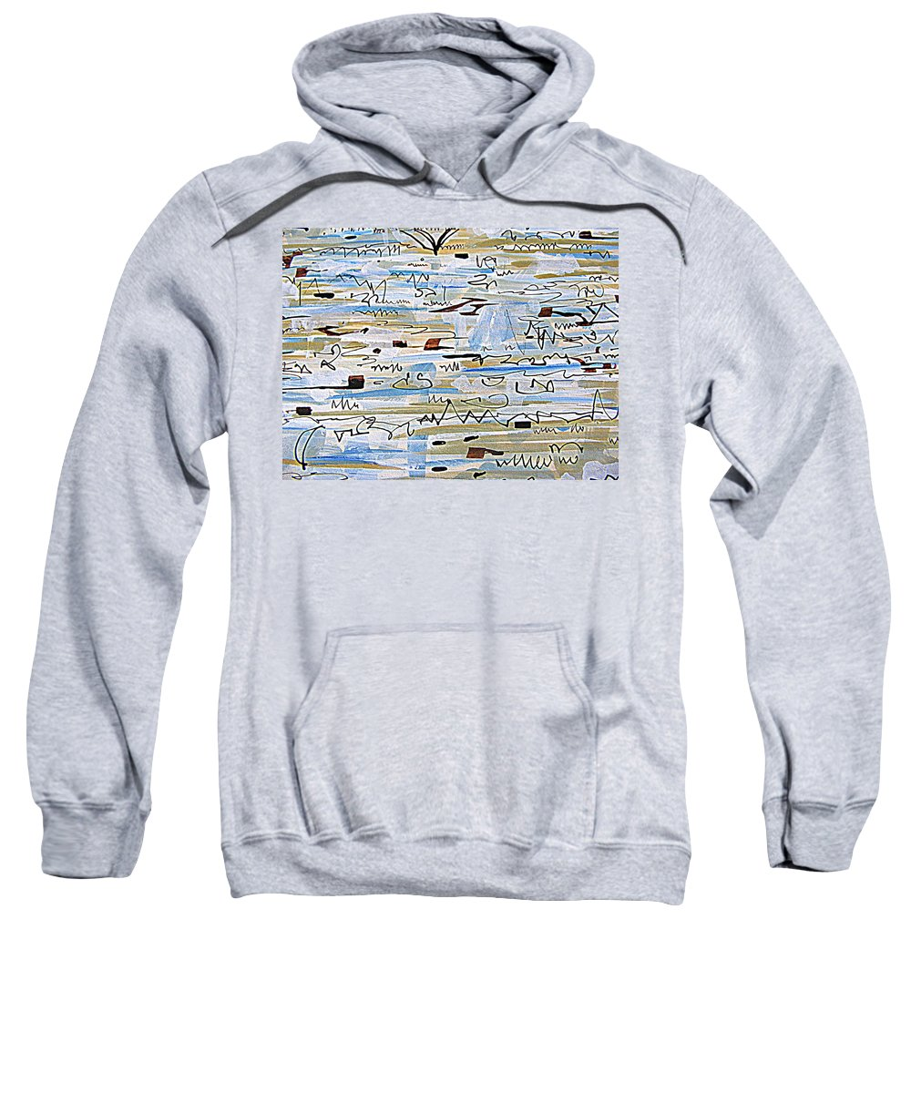 Gouache And Ink Abstract Painting Sweatshirt featuring the painting Notes In The Sand by Nancy Kane Chapman