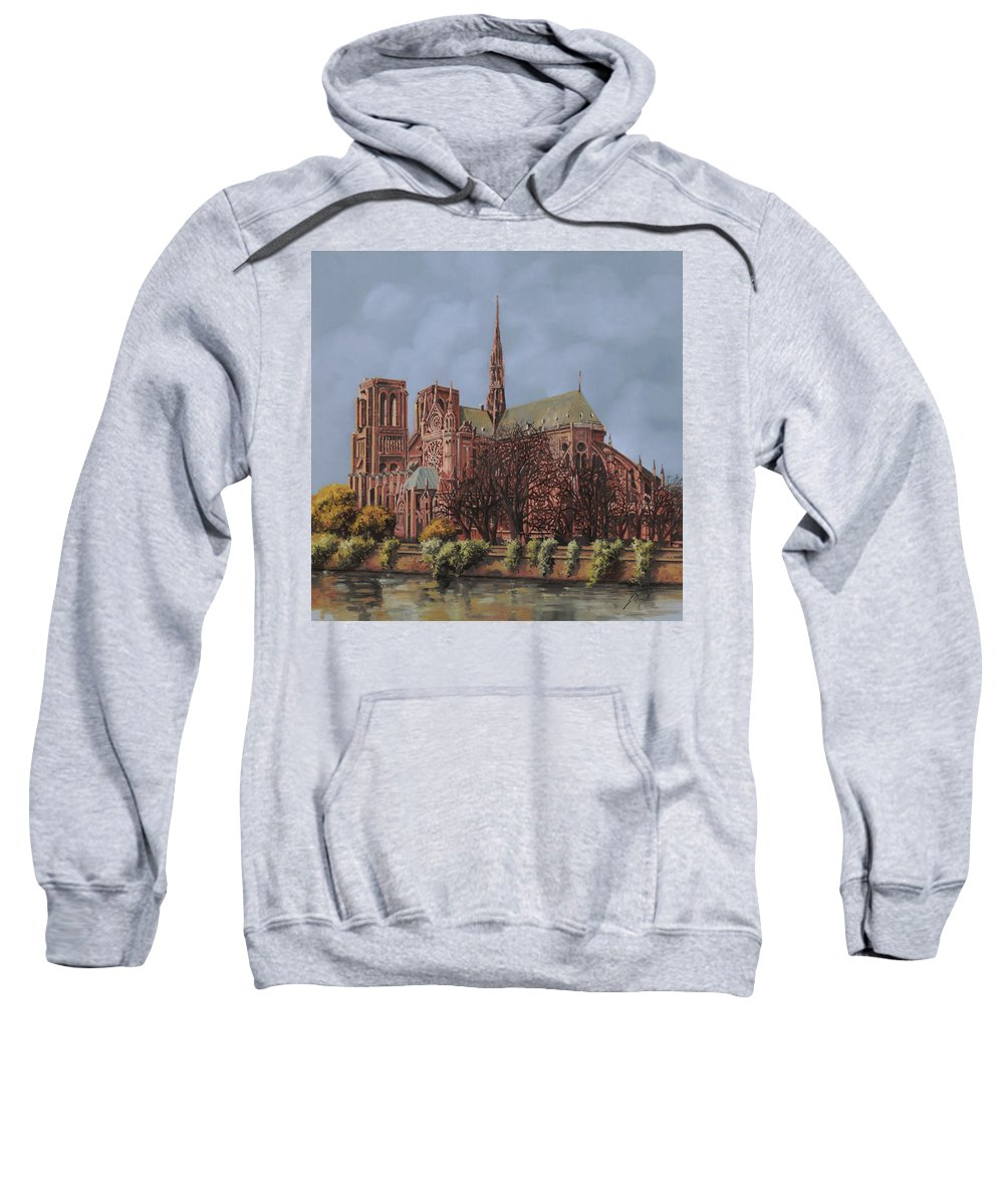 Paris Sweatshirt featuring the painting Notre-dame by Guido Borelli