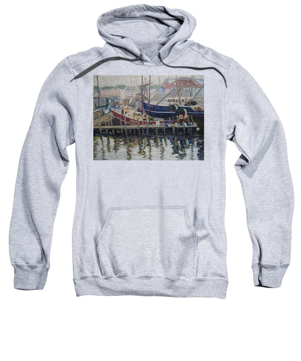 Boats Sweatshirt featuring the painting Nova Scotia Boats At Rest by Richard Nowak