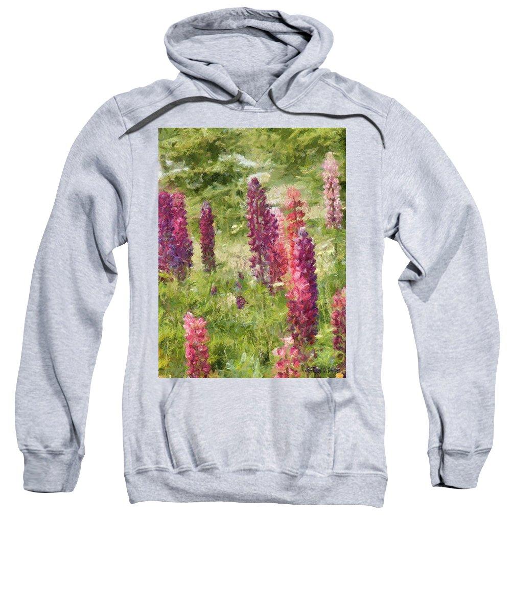 Nova Scotia Sweatshirt featuring the painting Nova Scotia Lupine Flowers by Jeffrey Kolker