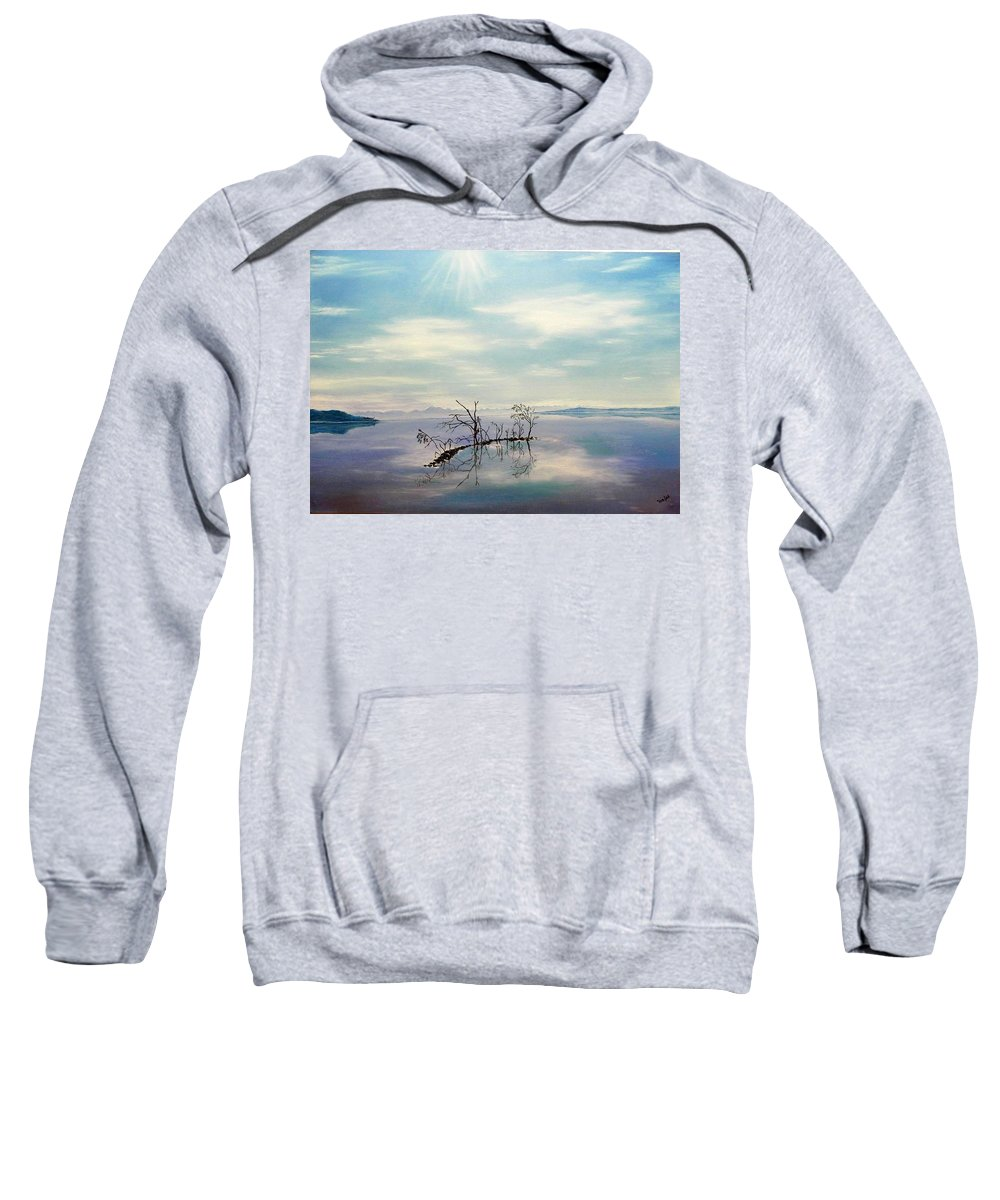 Late Novemeber In Bavaria Sweatshirt featuring the painting November On A Bavarian Lake by Helmut Rottler