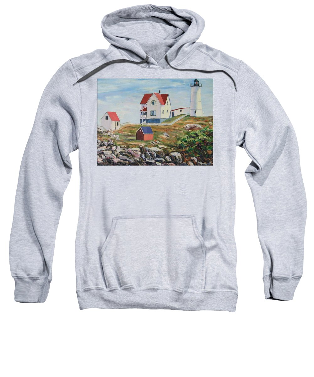 Nubble Light House Sweatshirt featuring the painting Nubble Light House Maine by Richard Nowak