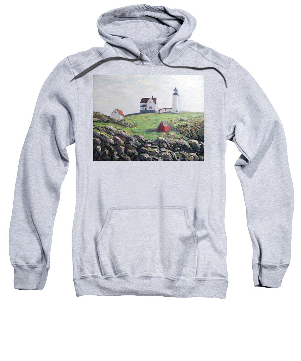 Maine Sweatshirt featuring the painting Nubble Light House by Richard Nowak